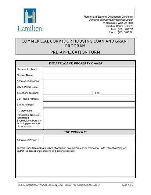 Housing Grant Application
